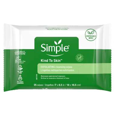 Simple Skind to Skin Exfoliating Facial Wipes  - Compostable Wipes