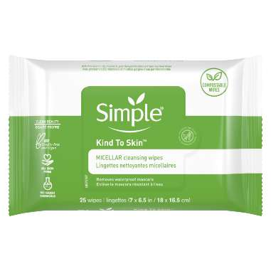 Simple Kind to Skin Micellar Makeup Remover Wipes - Compostable Wipes