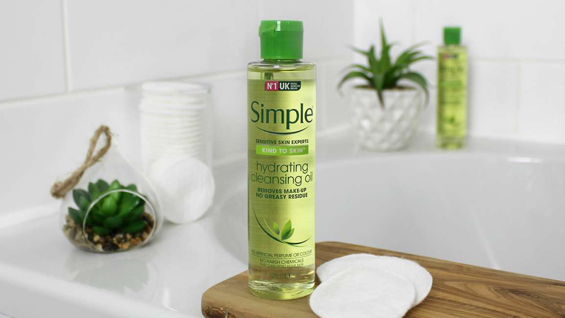 Simple Kind to Skin Hydrating Cleansing Oil in a bathroom setting