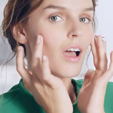 Simple Your skincare routine for dry skin green top fingers on cheeks