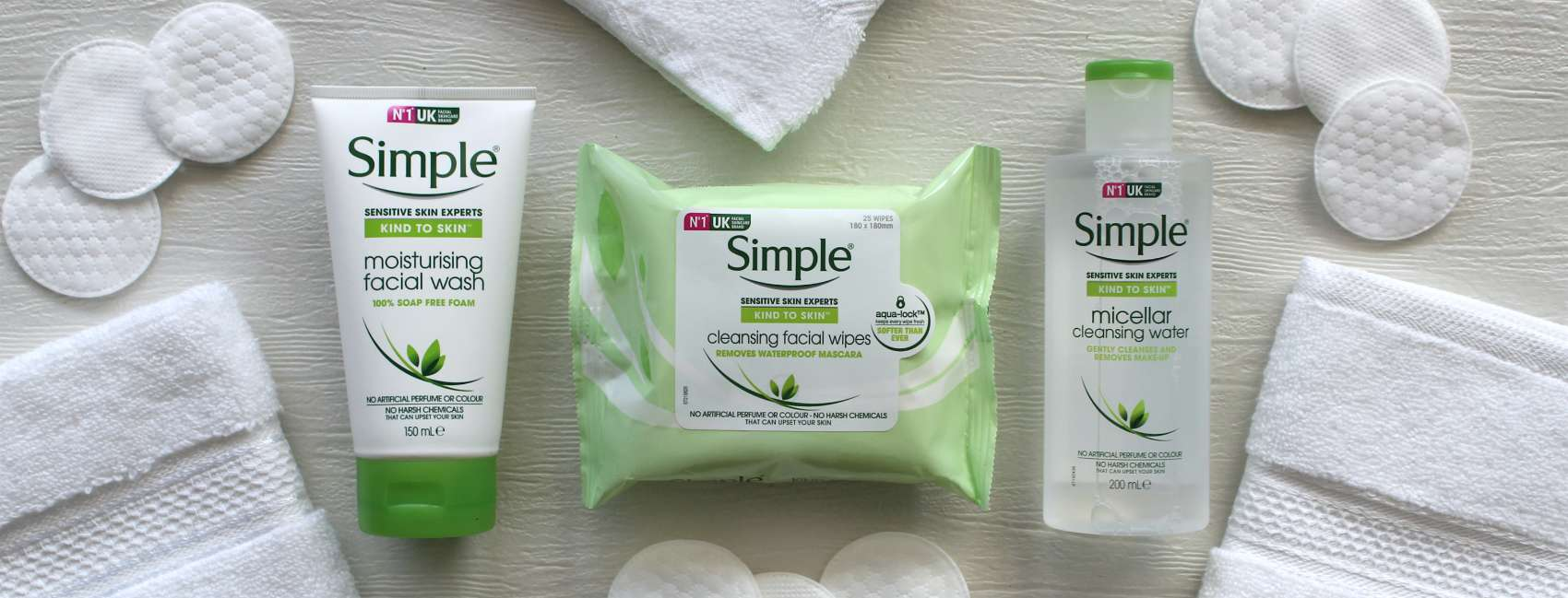 Selection of Simple cleansing products on white brackground