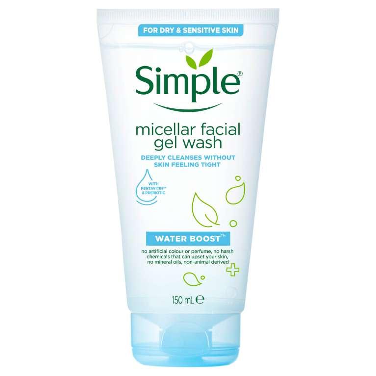 Water Boost Micellar Facial Gel Wash | Simple® Skincare