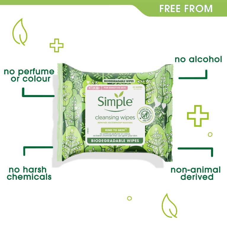Simple Kind to Skin Bio Cleansing Wipes Free From