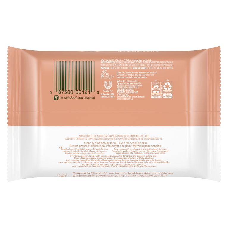 Simple Skin Care Facial Glow Wipes 25 CT