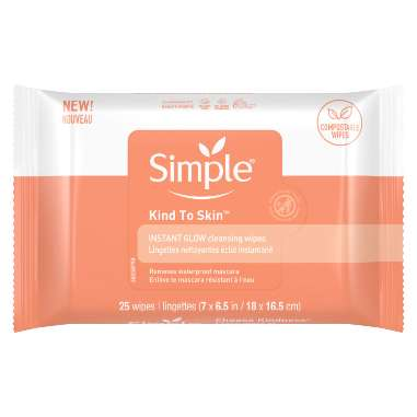 Simple Kind to Skin Instant Glow Cleansing Wipes  - Compostable Wipes
