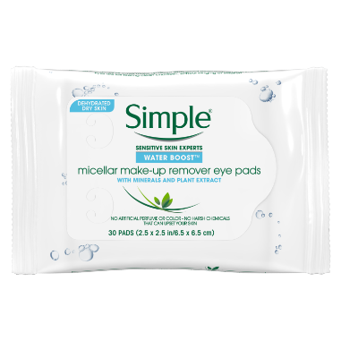 Simple® Water Boost Micellar Make-up Remover Eye Pads