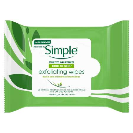 Simple Kind to Skin Biodegradable Exfoliating Facial Wipes