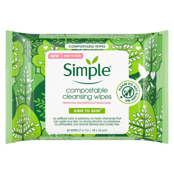 Simple Compostable Cleansing Wipes 25 ct